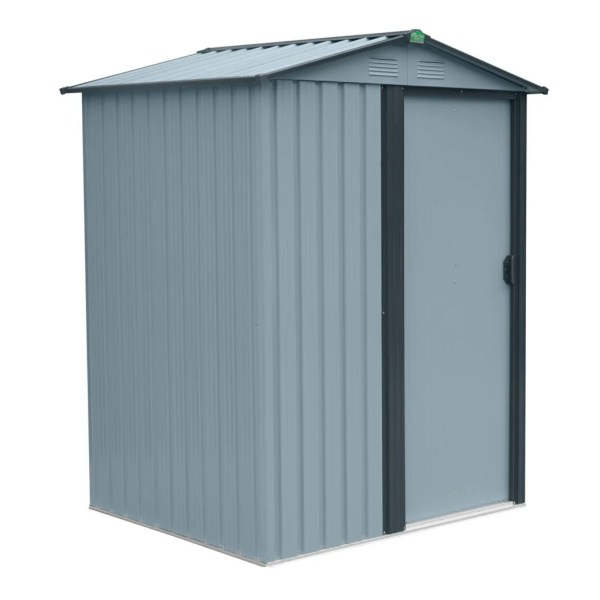 The Tiny Garden Shed at a 45 degree angle with the door closed. It's light grey against a white background.