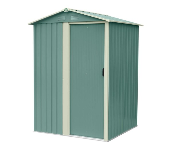 An alternative view of the small garden shed in olive green