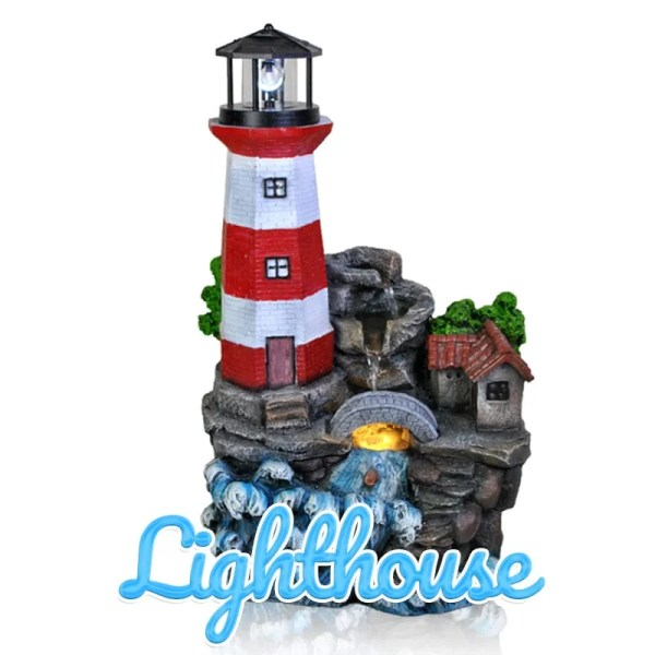 A red and white horizontally striped lighthouse sitting atop a stoney hill as waves crash against the side of it in this water feature.