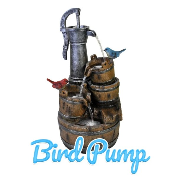 A small blue and a small red bird sit on angled wooden buckets under a lage, old-fashioned water pump.