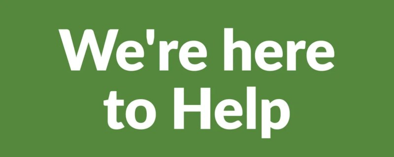 A green and white text logo that reads: 'we're here to help'