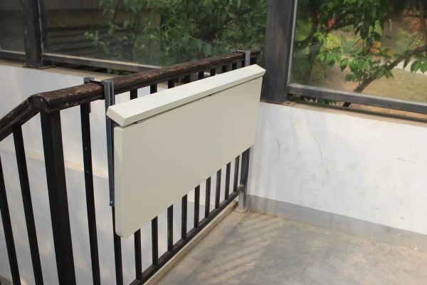 45 degree angled view of the balcony railing table