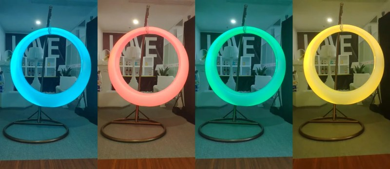 Four pictures of the led swing chair side by side showing examples of the colours that it can change to. Shown is the chair at Teal, Peach, Green and yellow.