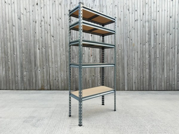 The Small shelving unit from Sheds Direct Ireland against a wooden plank wall