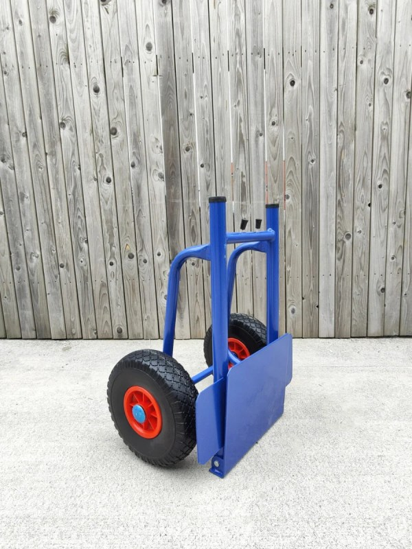 a 45 degree view of the hand truck with the back plate removed. It has a truncated top side, as a result