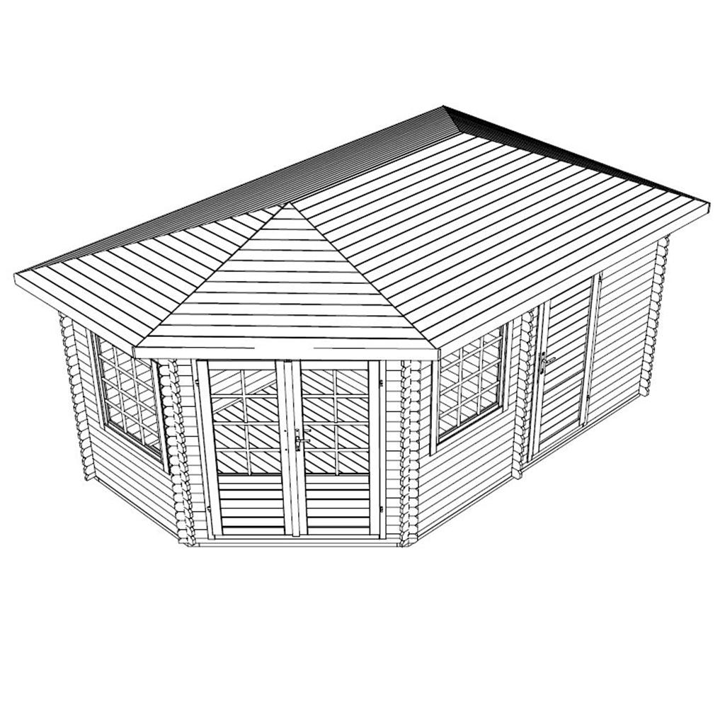 Installed 5m X 3m Corner Log Cabin Double Glazing Free
