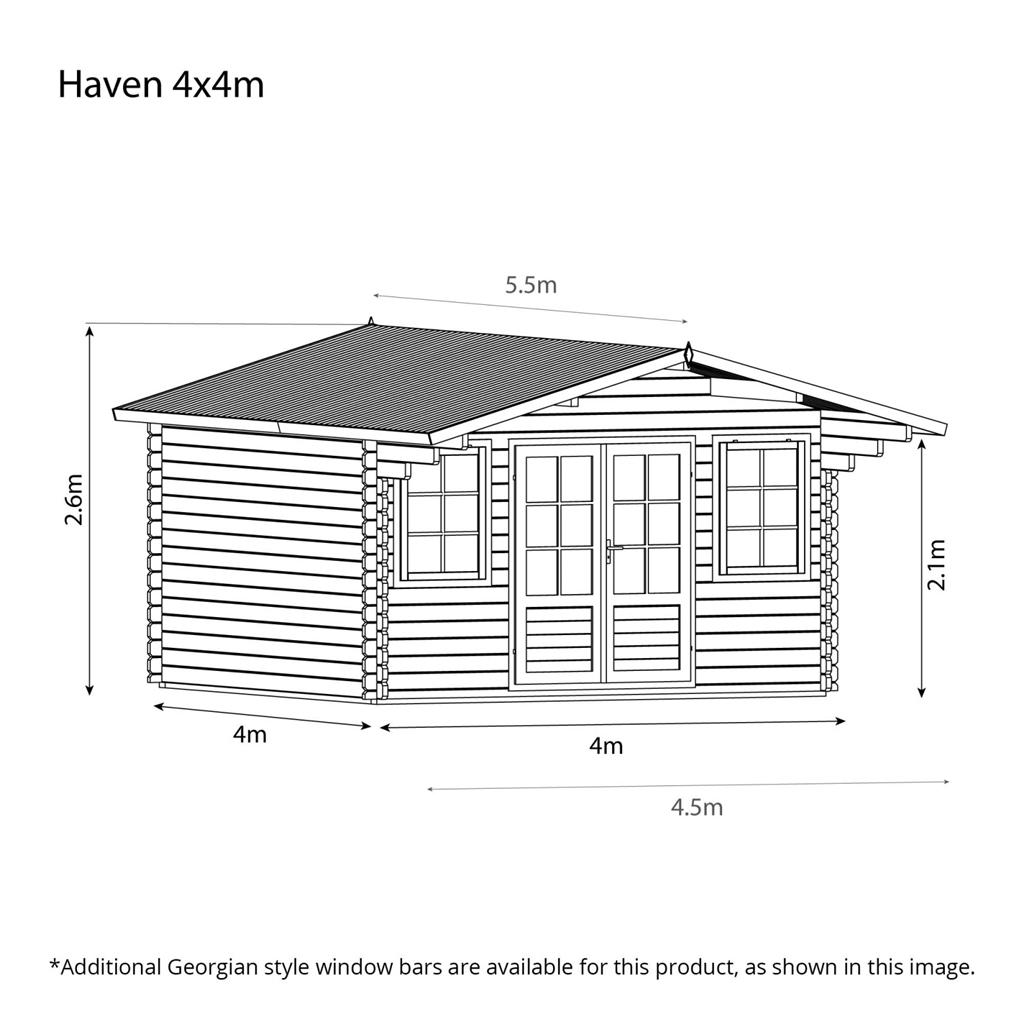 4m X 4m Apex Log Cabin Single Glazing Free Floor