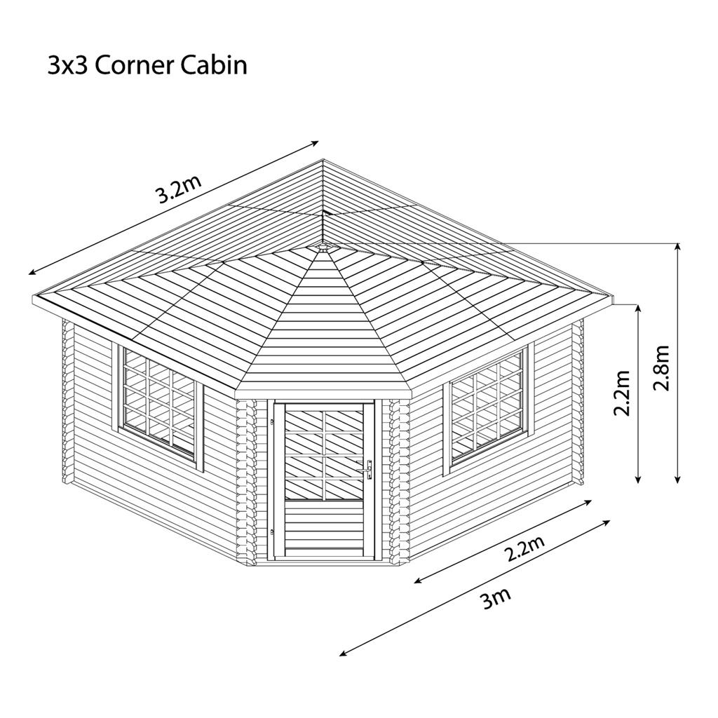 3m X 3m Corner Log Cabin Double Glazing Free Floor