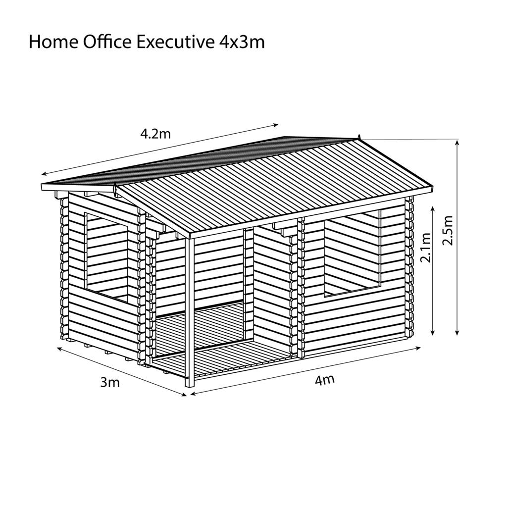 Installed 4m X 3m Reverse Apex Log Cabin Single Glazing