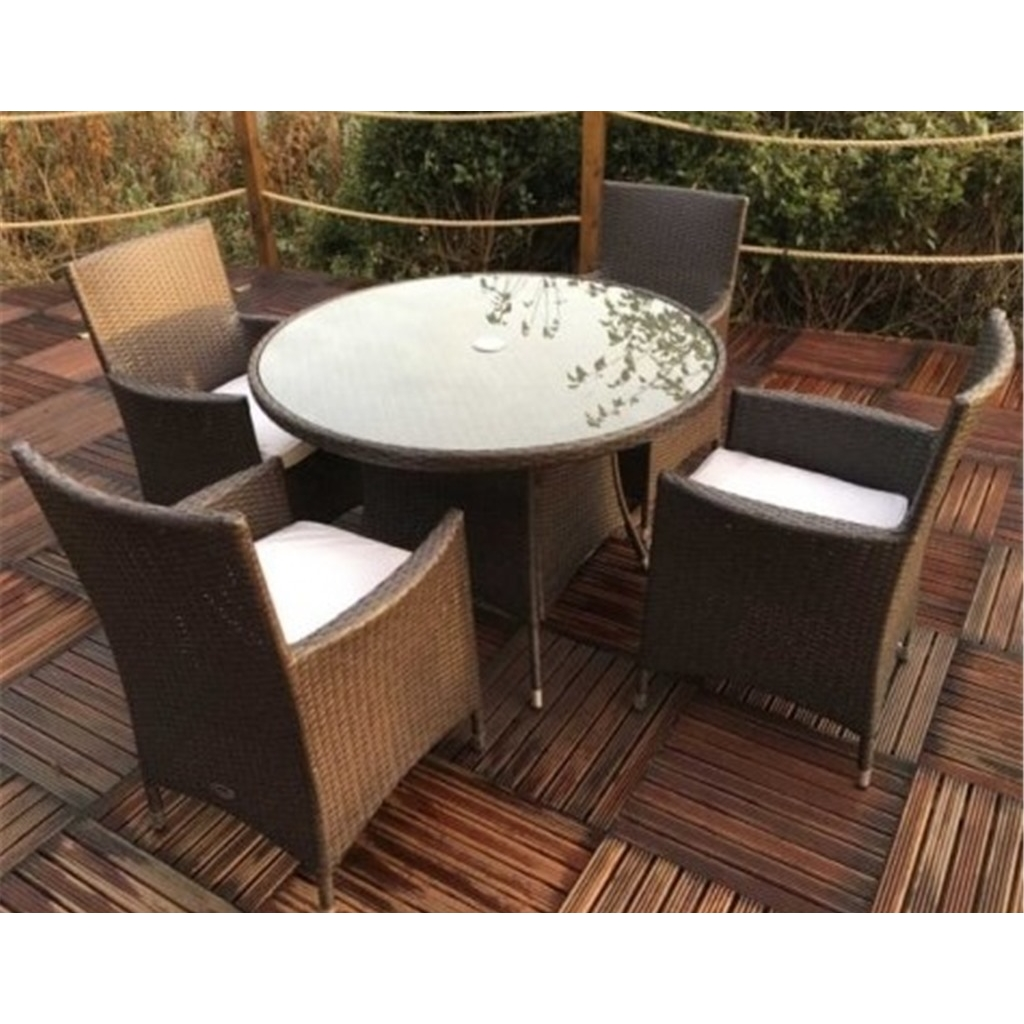 4 Seater 5 Piece Naples 4 Seater Round Dining Set 110cm Round Glass Top Table With 4
