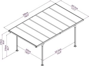 Palram 16x10 Verona 5000 Metal Carport Kit  Gray (HG9135)