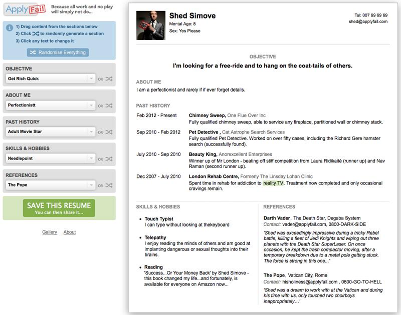Creative video resume maker