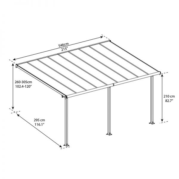 10 x18 3x5 46m palram olympia white patio cover with clear panels