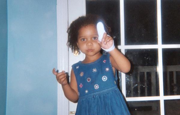 Amirah with a broken finger