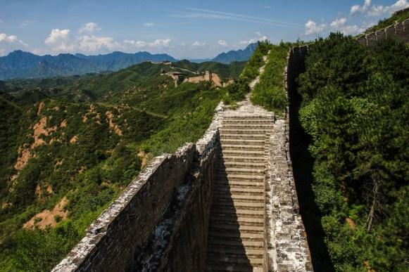Zurück auf der Mauer und Ankunft im Abschnitt von Jinshanling
