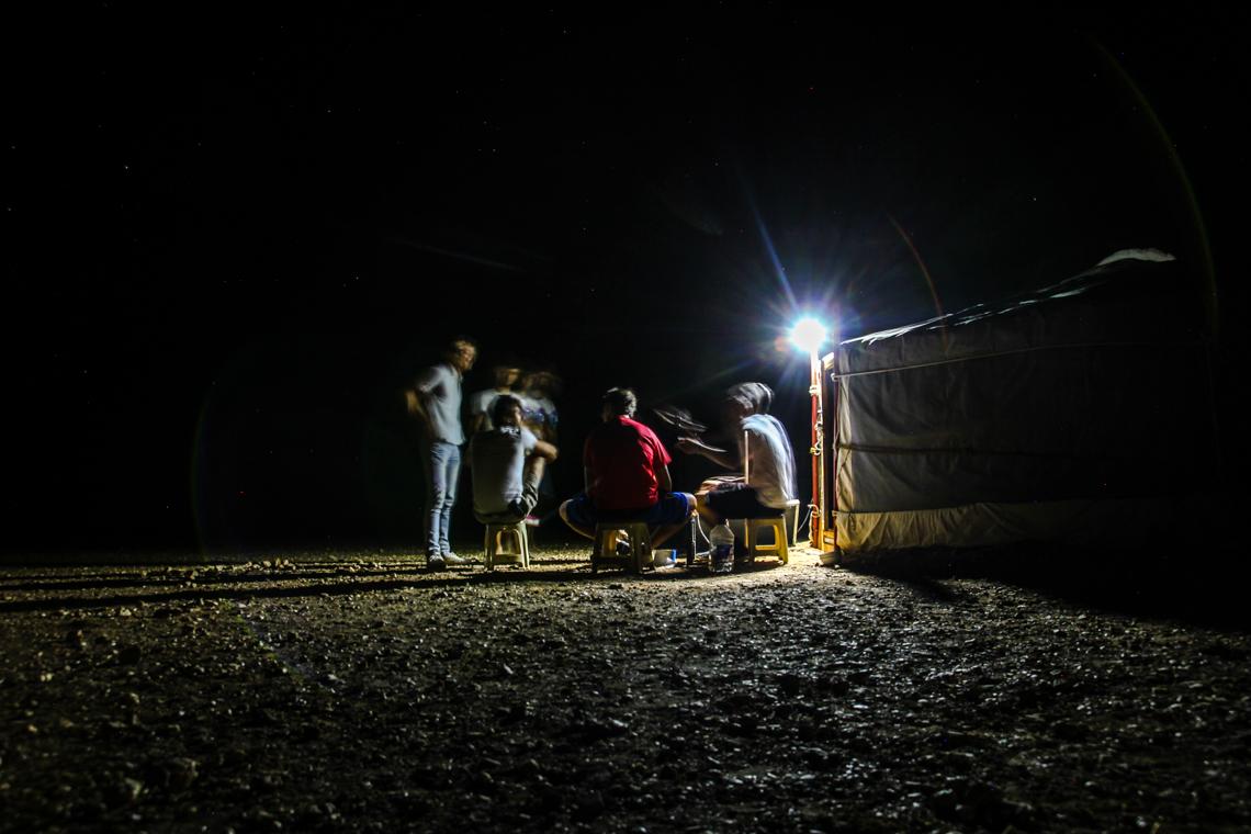 Abends an unserem Jurtencamp