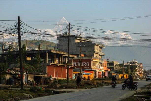 Morgendlicher Blick auf den Machhapuchare, der über Pokhara thront