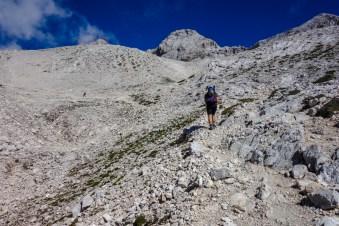 Aufstieg durch Geröll zur Dom Planika Hütte