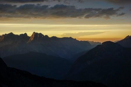 Blick auf die Reiteralpe im Sonnenuntergang