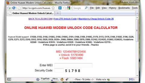 Huawei modem unlock service