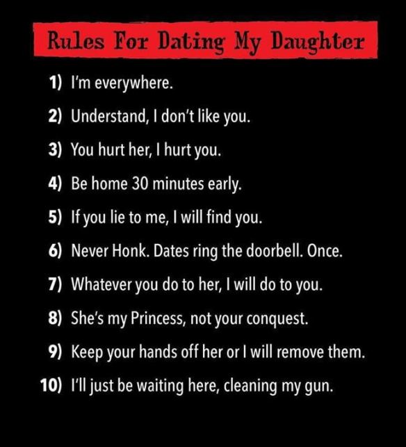rules for dating my daughter -- macho version