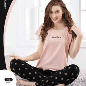 Women Peach Top and Printed Bottom Night suit Set