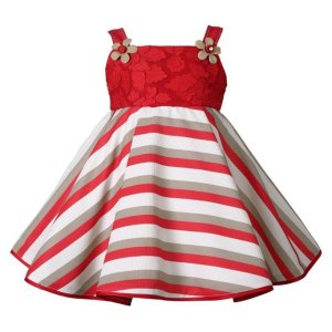 Red and White Strips Baby Frock