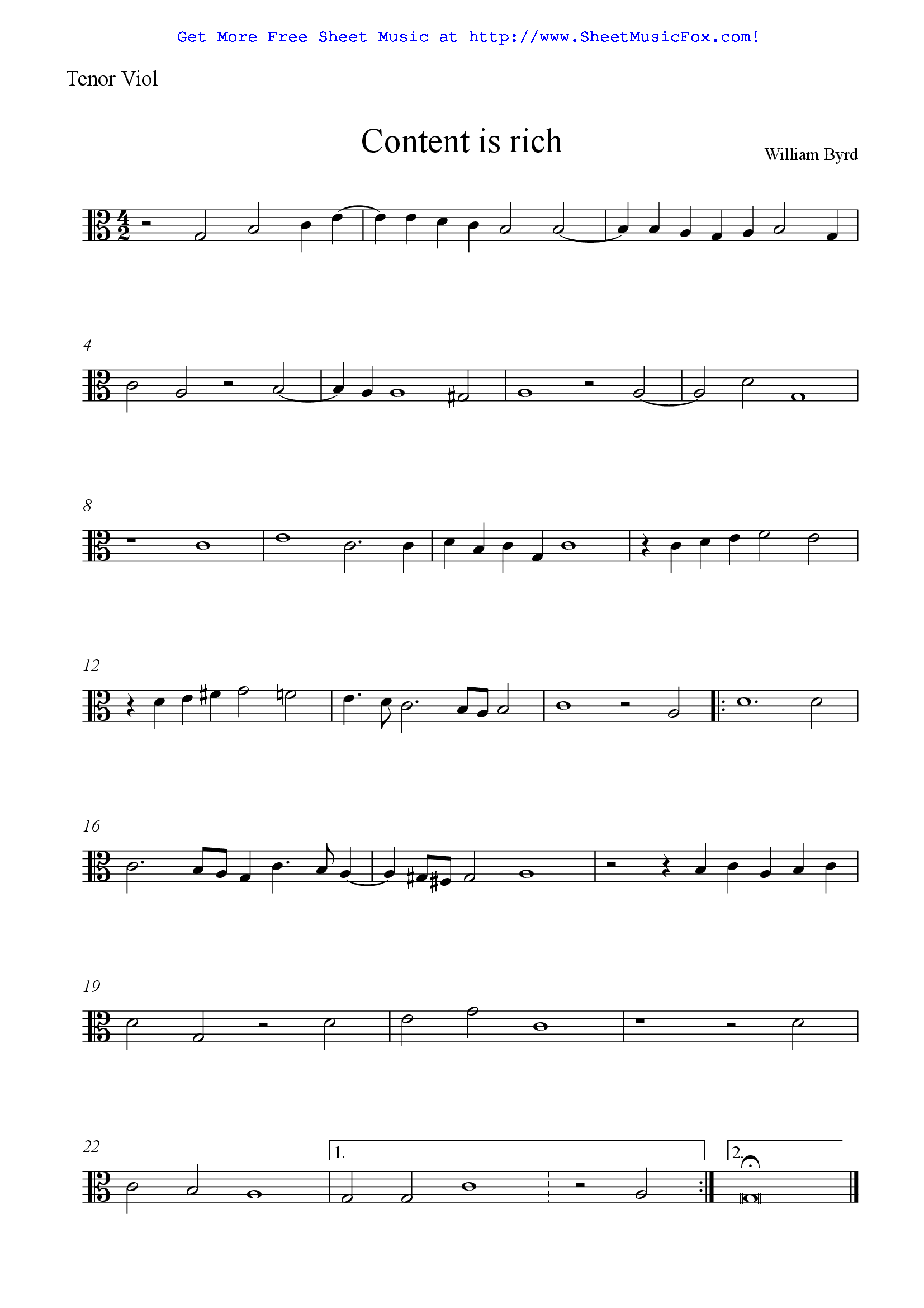 Free Sheet Music For Content Is Rich Byrd William By William Byrd