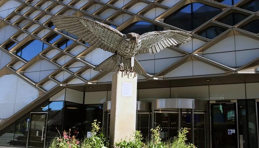 Allen the Falcon outside The Diamond building