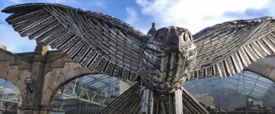 Allen the Falcon sculpture made from Ikea Allen keys