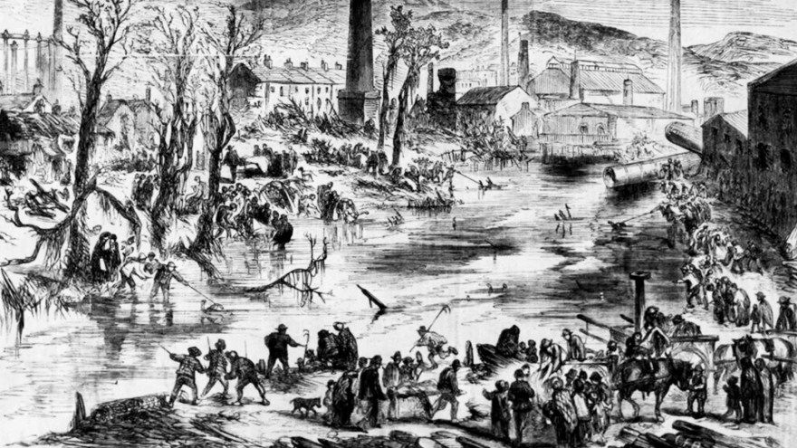 Drawing of Sheffield Flooding at Philadelphia