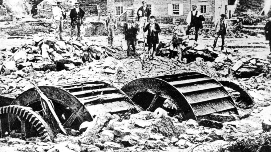 Water wheels and other debris following the Sheffield Flood