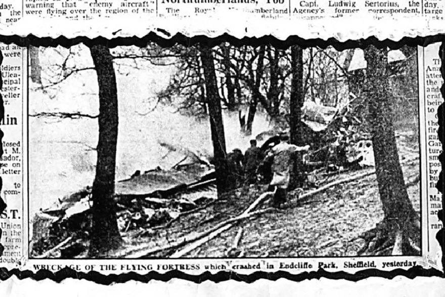 Newspaper photograph of the crashed Mi Amigo bomber