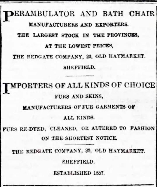 Advert for The Redgate Company of 20 Haymarket, 1887