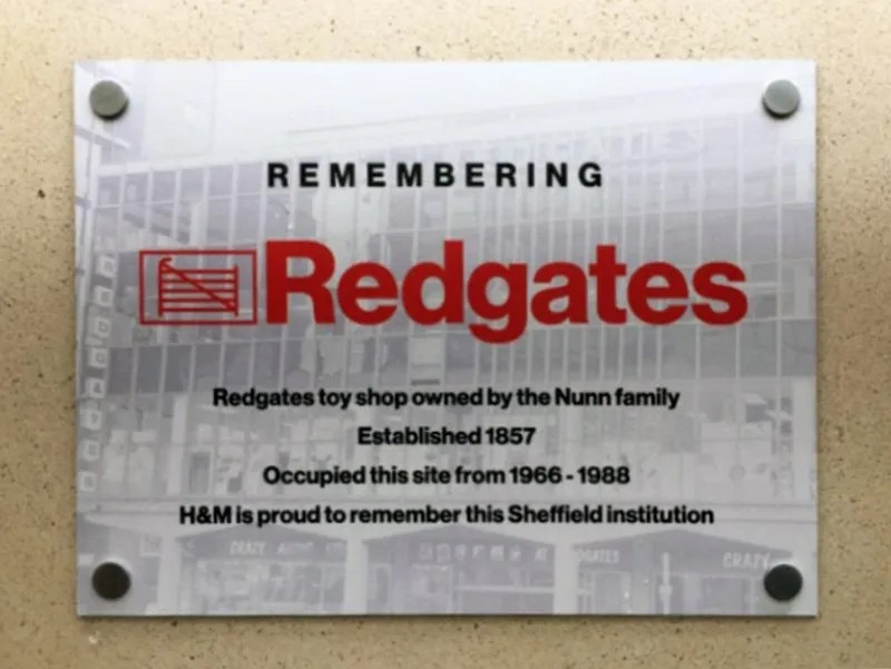 Redgates Plaque at H&M Sheffield