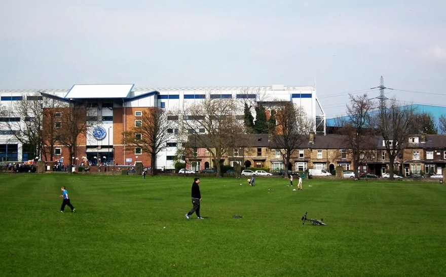 Sheffield Wednesday Football Club seen from Hillsborough Park