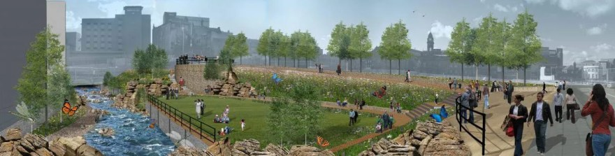 Plans for Castlegate 'Sheaf Field' Park on the site of the old Castle Market