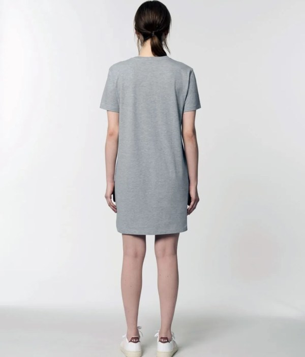 Made in Sheffield Embroidered Motif Organic Dress (Back), Heather Grey