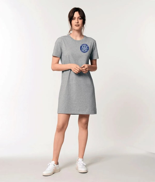 Made in Sheffield Embroidered Motif Organic Dress, Heather Grey