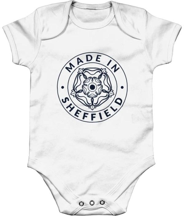 Made in Sheffield Babygrow, White