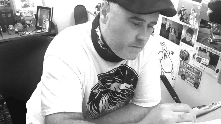 Artist Jim Connolly at work