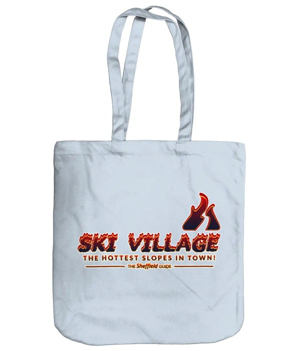 Ski Village: The Hottest Slopes in Town Organic Tote Bag, Pastel Blue