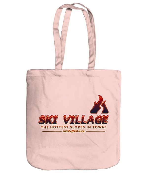 Ski Village: The Hottest Slopes in Town Organic Tote Bag, Pastel Pink