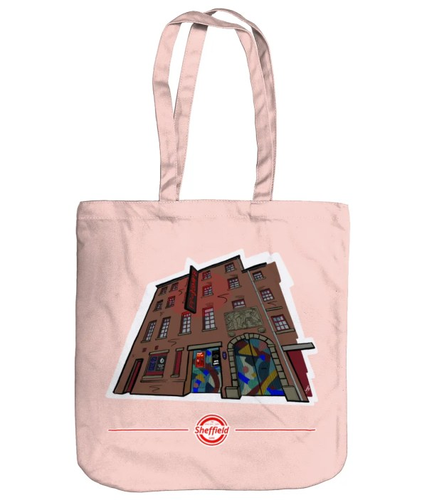 The Leadmill Sheffield Organic Tote Bag (Art by James), Pastel Pink