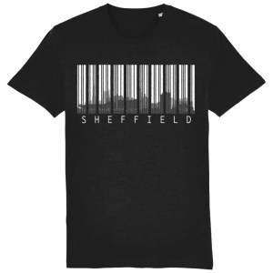 Sheffield Skyline Barcode Organic T-Shirt, Black
