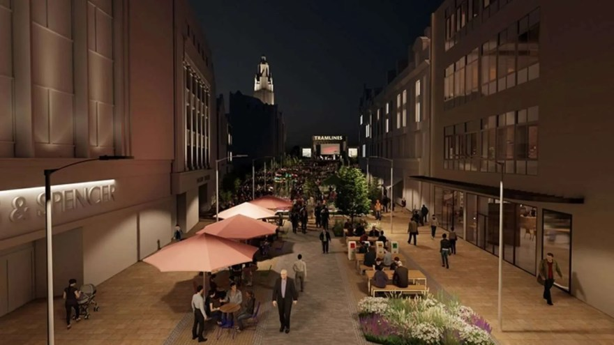 Plans for Fargate's 'Future High Streets' development showing event space in an evening