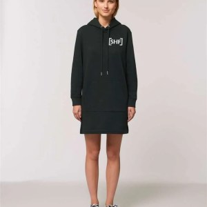 [SHF] Motif Embroidered Hoodie Dress, Black