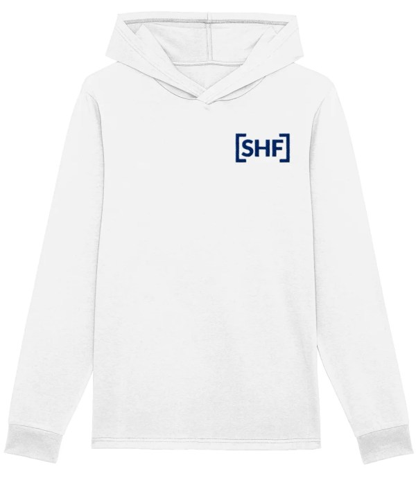 [SHF] Motif Embroidered Hooded Long Sleeve Shirt, White