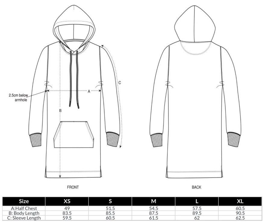 Hoodie Dress Size Guide
