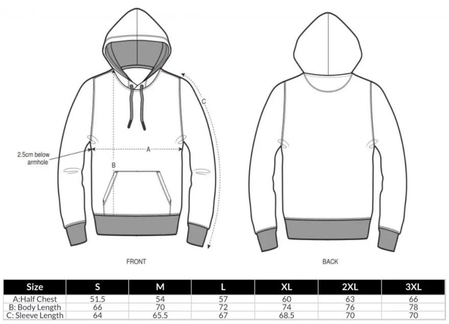 Unisex Hoodies Size Chart